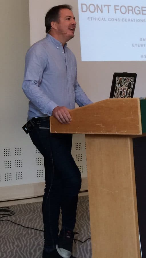 Sam Dubberley talking at an event in 2016 (Photo by Jochen Spangenberg)