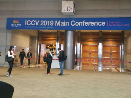 Photos from the ICCV 2019. The entrance to the main conference (left), the entrance to the conference expo (right) and the poster area in the conference expo (bottom). Photos by Giorgos Kordopatis-Zilos.